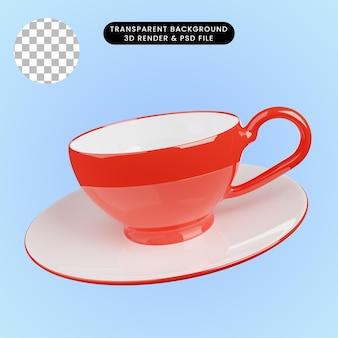 Illustrazione 3d della tazza da tè in ceramica