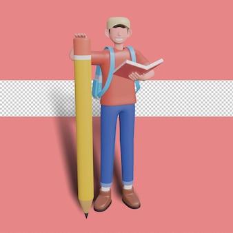 Illustrazione 3d del personaggio che tiene libro e matita