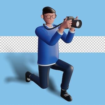 Illustrazione 3d di un personaggio che fotografa un oggetto