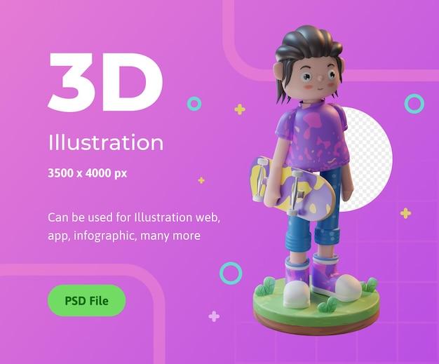 Personaggio dell'illustrazione 3d che gioca a skateboard con un podio utilizzato per l'infografica dell'app web ecc