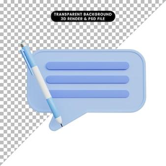Revisione della bolla di chat dell'illustrazione 3d con la penna a sfera