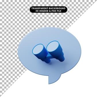 Bolla di chat illustrazione 3d con binocolo