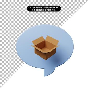 Bolla di chat illustrazione 3d con cartone aperto