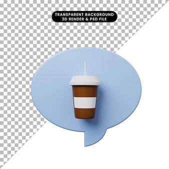 Bolla di chat illustrazione 3d con caffè