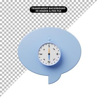 Bolla di chat illustrazione 3d con bussola