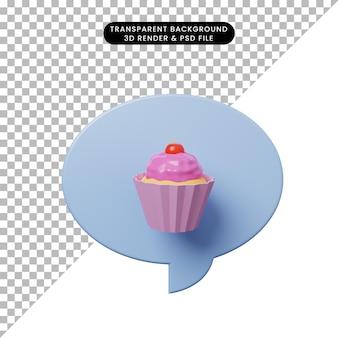Bolla di chat illustrazione 3d con torta di tazza