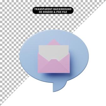 Bolla di chat illustrazione 3d con busta aperta con carta