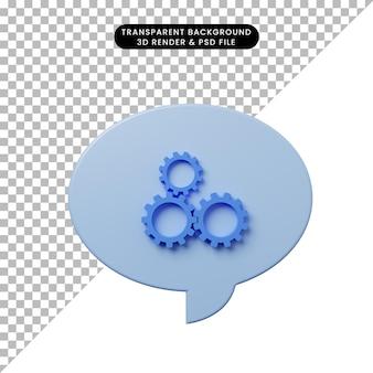 Bolla di chat illustrazione 3d con icona a forma di ingranaggio