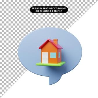 Bolla di chat illustrazione 3d con casa