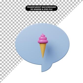 Bolla di chat illustrazione 3d con gelato