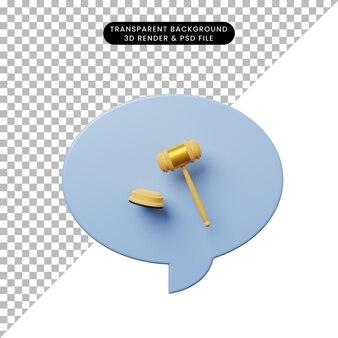 Bolla di chat illustrazione 3d con martello giudice