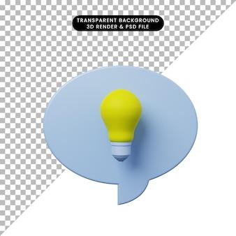 Bolla di chat illustrazione 3d con lampadina