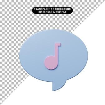 Bolla di chat illustrazione 3d con icona della musica