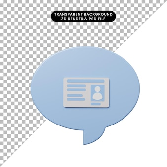 Bolla di chat illustrazione 3d con biglietto da visita