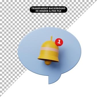 Bolla di chat illustrazione 3d con campanello di notifica