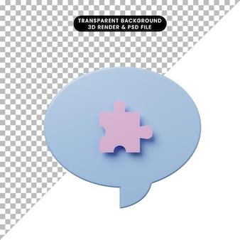 Bolla di chat illustrazione 3d con pezzo di puzzle