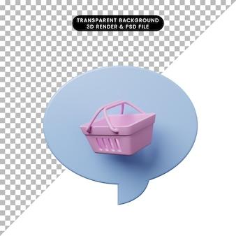 Bolla di chat illustrazione 3d con carrello della spesa
