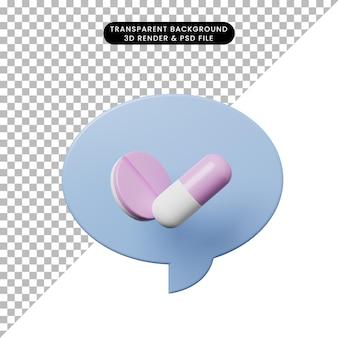 Bolla di chat dell'illustrazione 3d con le pillole della compressa