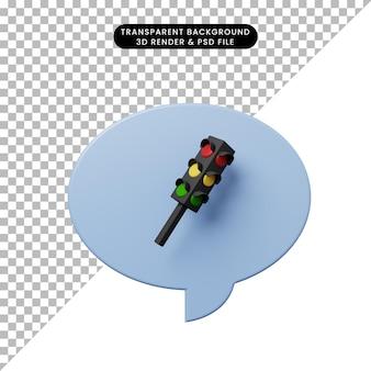 Bolla di chat illustrazione 3d con semaforo