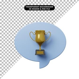Bolla di chat illustrazione 3d con trofeo