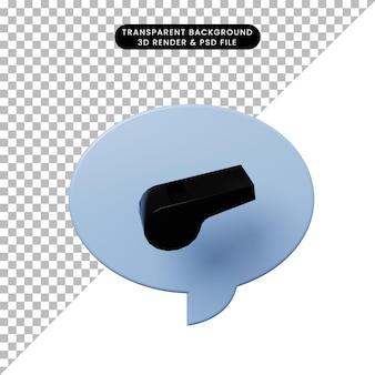 Bolla di chat illustrazione 3d con fischietto