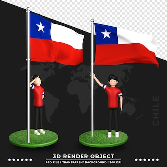 Illustrazione 3d della bandiera del cile con il personaggio dei cartoni animati della gente sveglia. rendering 3d.
