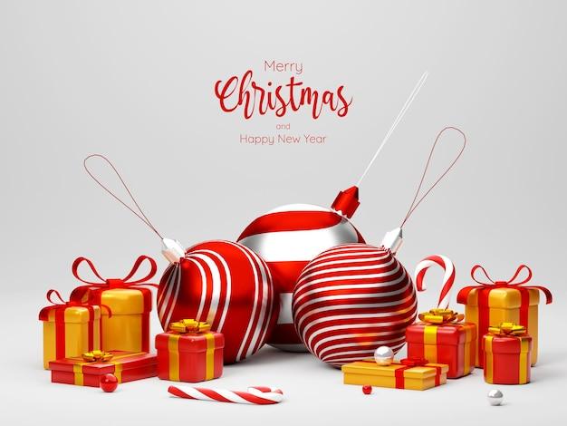 Illustrazione 3d della palla di natale e della confezione regalo su sfondo bianco