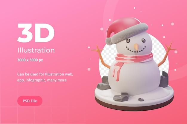 Illustrazione 3d, oggetto natalizio, pupazzo di neve con berretto, per web, app, pubblicità, ecc