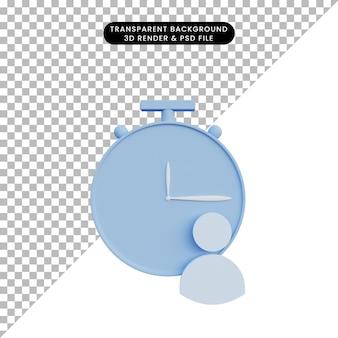 Icona dell'orologio dell'illustrazione 3d con l'icona della gente