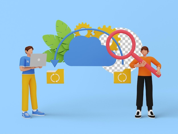 Illustrazione 3d del backup su cloud per il tuo sito web