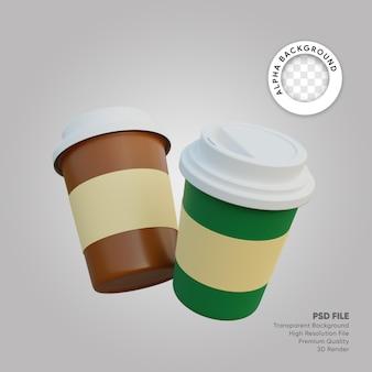 Illustrazione 3d di caffè e cioccolato