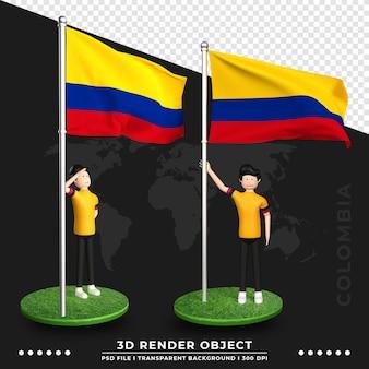 Illustrazione 3d della bandiera della colombia con il personaggio dei cartoni animati della gente sveglia. rendering 3d.