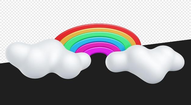 Illustrazione 3d di arcobaleno colorato con nuvole bianche isolate