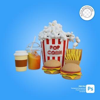 Illustrazione 3d completo pacchetto snack coppia popcorn con caffè