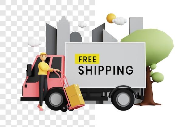 Concetto di illustrazione 3d di un corriere che trasporta merci in carrello