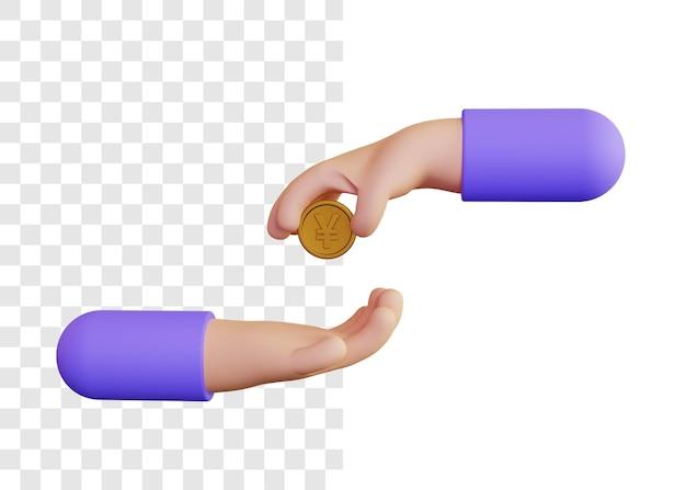 3d illustrazione concetto di dare denaro yen monete
