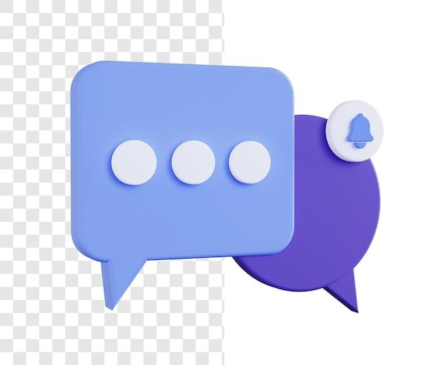 Concetto di illustrazione 3d della notifica del messaggio in arrivo