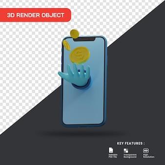 Concetto dell'illustrazione 3d di acquisto in linea. guadagnare soldi dal mercato online.