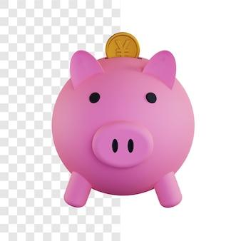 3d illustrazione concetto di risparmio di monete yen