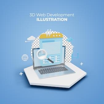 Concetto di illustrazione 3d di progettazione e sviluppo di siti web e app