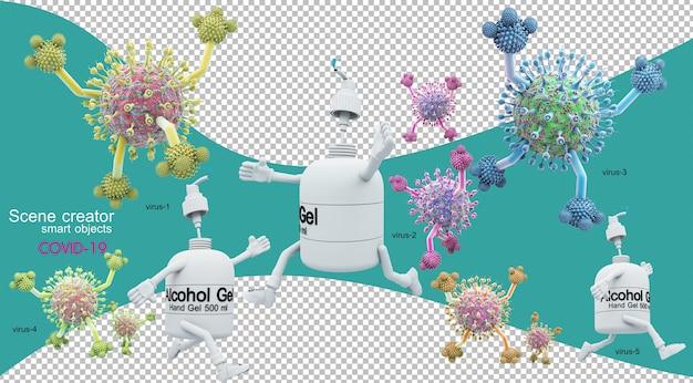 Illustrazione 3d della situazione del coronavirus