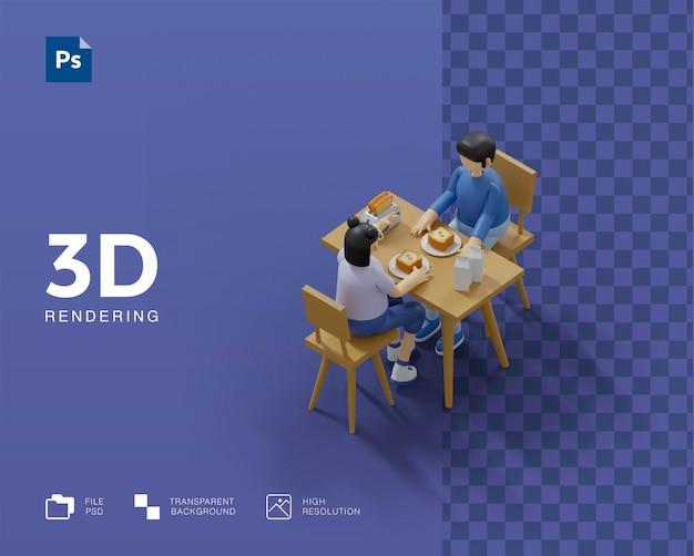 Coppia di illustrazioni 3d che fanno colazione insieme
