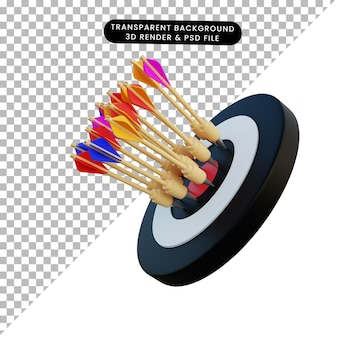 Freccia del dardo dell'illustrazione 3d sull'obiettivo