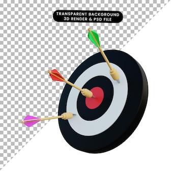 Dardo dell'illustrazione 3d sull'obiettivo e più