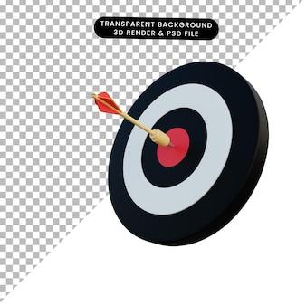 Dardo dell'illustrazione 3d sull'obiettivo