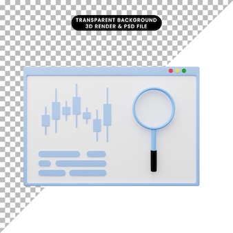Illustrazione 3d del rapporto di analisi dei dati