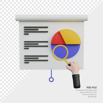 Illustrazione 3d del tabellone dei dati con la lente d'ingrandimento che tiene la mano