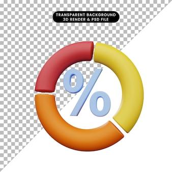 Illustrazione 3d del rapporto dati con icona percentuale