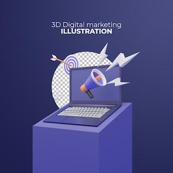 Illustrazione 3d del marketing digitale con laptop