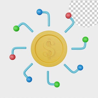 Icona di denaro digitale illustrazione 3d